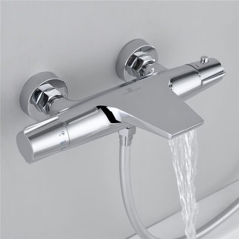 Grifo de ducha termostático Mezclador de ducha en cascada para bañera Grifo mezclador de latón cromado Diseño elegante