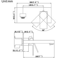 Grifo de monomando lavabo de baño en pared Grifo para Fregadero de Latón Cromo con Aireador Agua Fría y Caliente