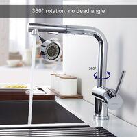 Grifo de Cocina Extraíble 2 Funciones 360°Giratorio Grifos de Fregadero de Alta Presión Monomando de Fregadero Grifería Cocina Agua Fría y Caliente Cromado