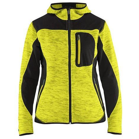 Veste tricotée à capuche femme - 3399 Jaune fluo/Noir - Blaklader - taille: L - couleur: Jaune fluo / Noir