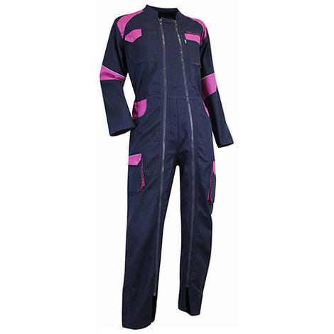 Combinaison 2 zips bicolore femme - ORGE - Bleu foncé / Rose - taille: M