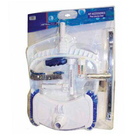 Kit d'accessoires de nettoyage pour piscine avec 2 épuisettes - Blanc