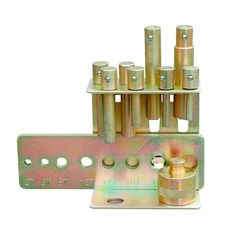 Kit de 8 poinçons avec plaque de fixation pour presse hydraulique d'atelier HOLZMANN