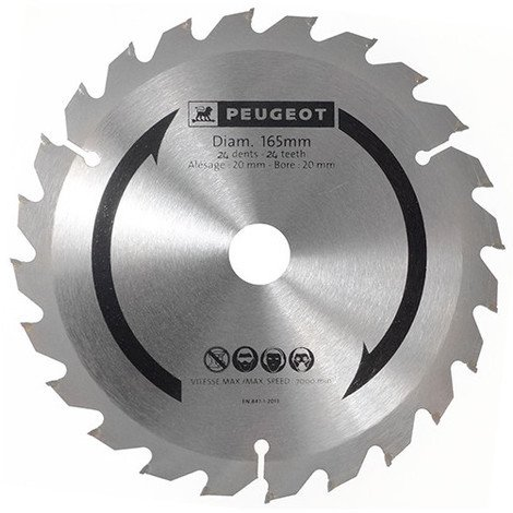 Lame carbure pour scie circulaire D. 165 x 20 mm x Z 24 - Bois - 801320 - Peugeot