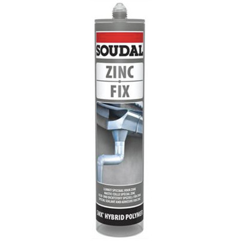 Mastic colle spécial zinc et toiture 290 ML Zinc fix Gris - 134631 - Soudal - Gris