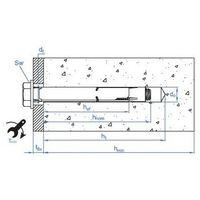 15 Chevilles métalliques anti-rotation Inox A2 - M6 x 45 mm (D. 8 mm)