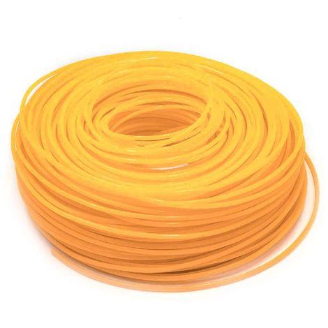 vhbw Câble de coupe 2.4mm rouge/orange 88m pour tondeuses à gazon et débroussailleuses Bosch, Einhell, Gardena, Husqvarna, Makita, Stihl, Wolf Garten
