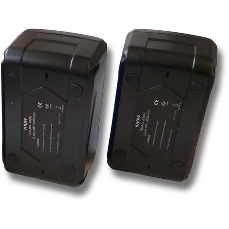 Lot 2 batteries Li-Ion vhbw 3000mAh (28V) pour outils comme lampe Milwaukee M28 WL LED etc. Remplace: 48-11-1830, 48-11-2830, 48-11-2850.
