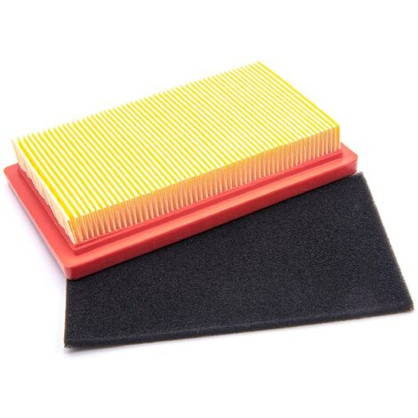 vhbw Set de filtres à air de rechange papier et mousse compatible avec Viking MB2RT, MB4R tondeuse a gazon, 14,5x 8,5 x 2,8cm
