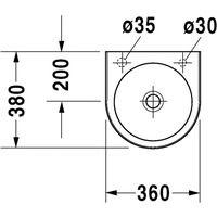 Lave-mains Duravit Architec 360 mm - Blanc - trous prépercés