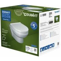 Pack WC suspendu Duravit DuraStyle 456209 - cuvette Rimless + abattant frein de chute
