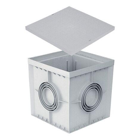 Pozzetto 40x40 400x400 con coperchio colore grigio in ppr 40 cm