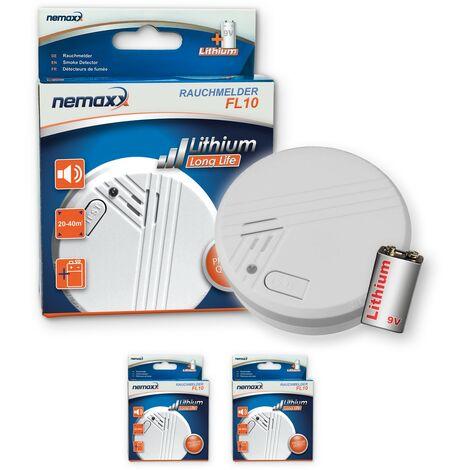 2x Nemaxx FL10 Rauchmelder - hochwertiger Rauchwarnmelder mit langlebiger 10 Jahre Lithium-Batterie - nach DIN EN 14604