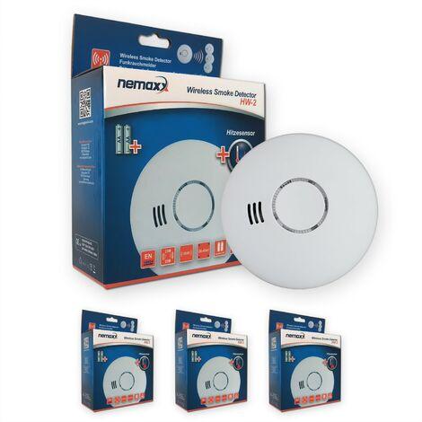 3x Nemaxx HW-2 Funkrauchmelder Rauchmelder Hitzemelder mit kombiniertem Rauch- und Thermosensor nach DIN EN 14604 - weiss