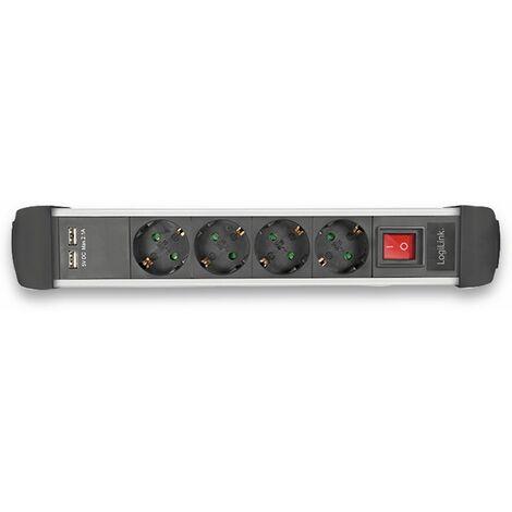 LogiLink Steckdosenleiste 3fach Schalter 2 USB Port weiß Zuleitung 1,5m