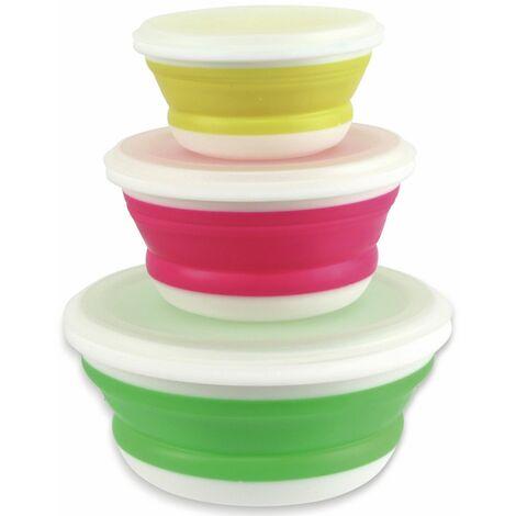 Vorratsdose, 3er Set faltbar, je 1 x 120 mm gelb, 150 mm pink, 190 mm grün