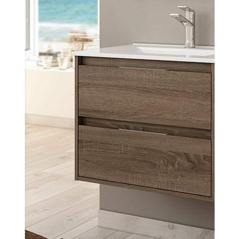 Conjunto Mueble de Baño 2 cajones color Roble Tabaco 60cm
