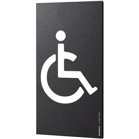 Plaque de porte pictogramme handicapé - Signalétique WC toilettes PMR - Portrait