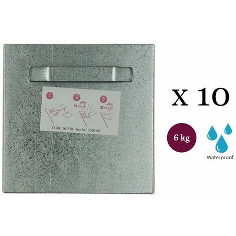Lot de 10 attaches adhésives 100x100 mm max 6 kg pour intérieur / extérieur - Fixation Dibond et miroir