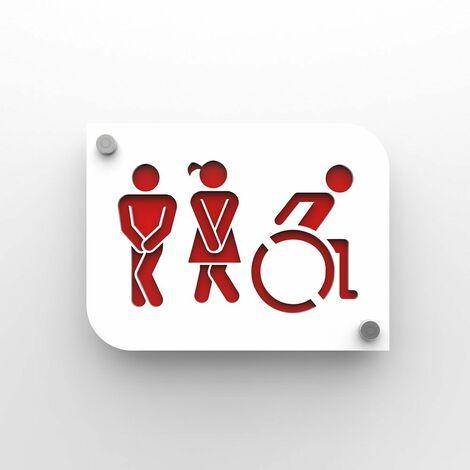 Plaque de porte design toilettes trio hommes / femmes / handicapés PMR - Pictogramme WC homme / femme / PMR - Blanc / Rouge - 3 - Blanc / Rouge