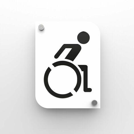 Plaque de porte design toilettes handicapés PMR couleur blanc à personnaliser - Pictogramme WC handicapés PMR - Blanc / Noir - 3 - Blanc / Noir