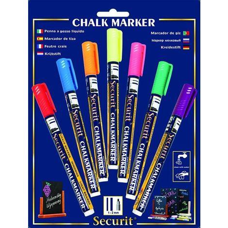 Feutre-craie 1-2 mm 7 couleurs - Jaune, bleu, vert, rose, violet, orange et rouge - 1 - Jaune, bleu, vert, rose, violet, orange et rouge