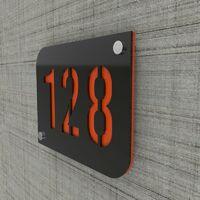 Plaque numéro de rue / maison noire design avec fond personnalisable - Modèle URBAN - Orange - 15 - Orange