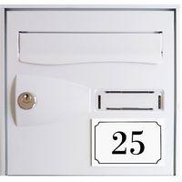 Numéro de maison / rue gravé et personnalisé couleur blanc chiffres noirs - Signalétique extérieure - Plastique - 8 - Plastique