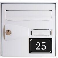 Numéro de maison / rue gravé et personnalisé couleur noir chiffres blancs - Signalétique extérieure - Plastique - 8 - Plastique