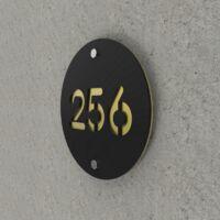 Numéro de rue / maison noir mat avec fond personnalisable - Modèle Round - Numéro rond diamètre 20 cm - Or - 20 - Or