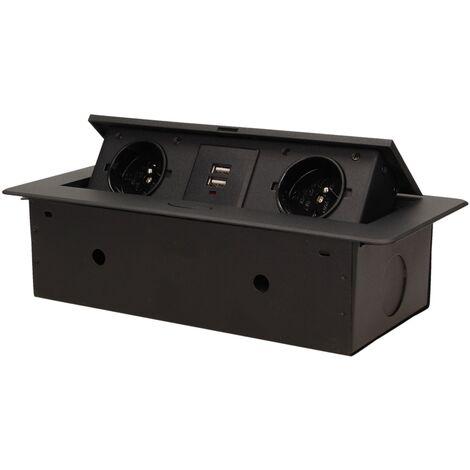 Bloc Prises escamotable avec 2 prises 230V + 2 prises USB Noir - Orno