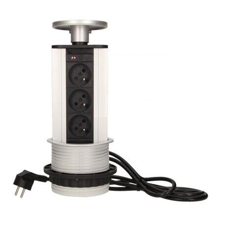 Bloc prise escamotable en Inox 3 prises 230V - Orno
