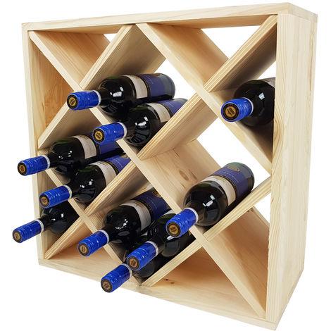 Weinregal Bacchus XX-Cube – Flaschenregal 52 x 52 x 25 cm mit X-Form – Weinständer für bis zu 24 Flaschen:Natur