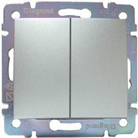 Doble Interruptor Aluminio Brillante Legrand Valena 770105