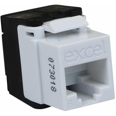 Conector Hembra RJ45 UTP Categoria 6 Keystone blanco EXCEL 100-215-WT Sin Herramienta