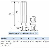 Bombilla PL-C LED para downlight 8,5W 830 2 Pines Philips