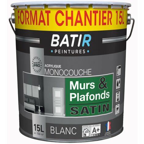Bâtir Peinture Murs & Plafonds Monocouche Blanche 15L Satin