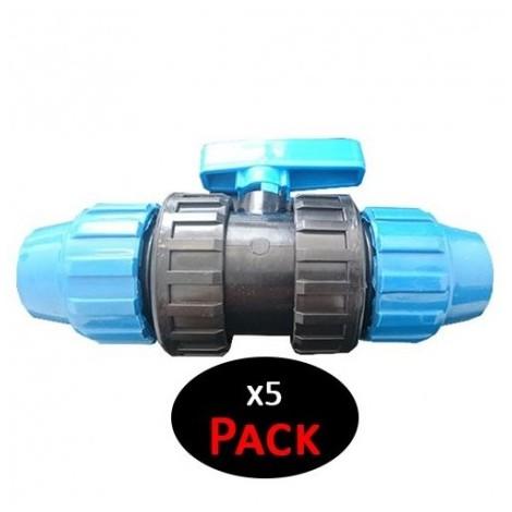 Válvula PVC fitting. 40mm enlace de polietileno (Pack de 5 unidades)