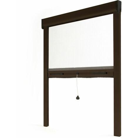 Store moustiquaire enroulable fenêtre LUXE ALU Marron RAL8014 - L800 x H1000mm