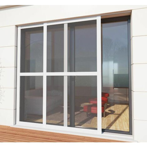 Moustiquaire coulissante baie vitrée blanc - L1600 x H2400mm - Blanc