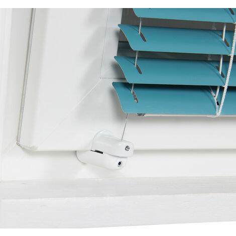 2 Fixations sans perçage universelles & réglables pour câbles de store - Blanc - Blanche