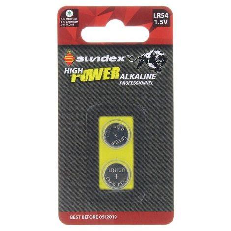 Piles (x2) LR54 - 1.5V - Alcaline Pro High Power Sundex