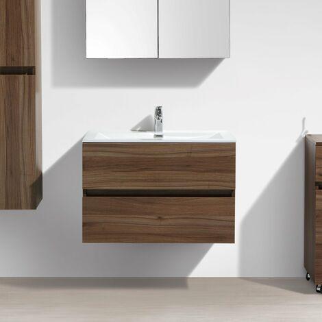Meuble salle de bain design simple vasque SIENA largeur 80 cm noyer - Marron