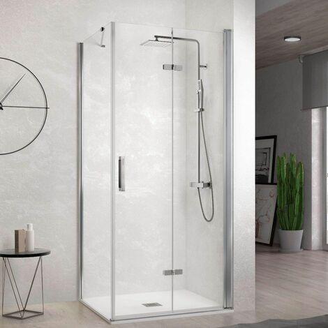 Paroi de douche fixe + Porte de douche pliante NARDI 90 cm Paroi latérale : 66.5 - 69 cm