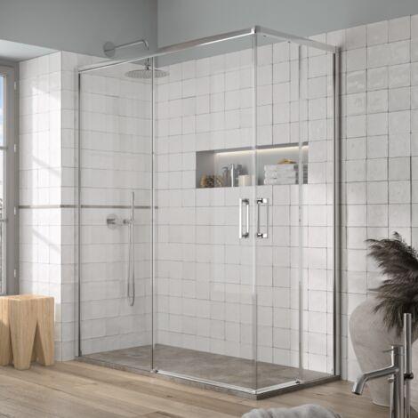 Paroi de douche accès en angle 2 verres fixes + 2 portes coulissantes YOKO 80 x 70 cm
