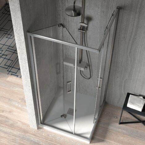 Paroi de douche accès en angle 1 porte pliante 90 cm + 1 porte coulissante 70 cm S300
