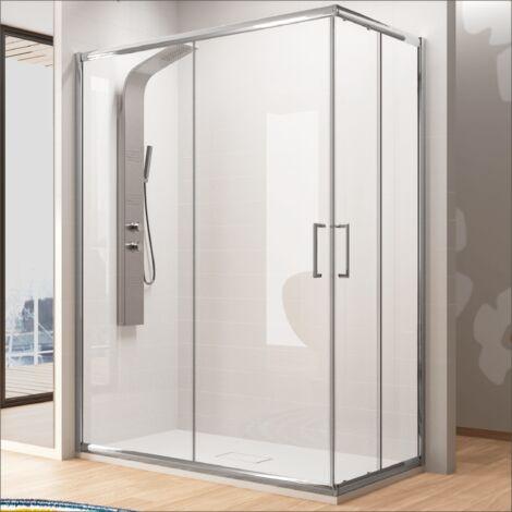 Paroi de douche accès en angle 2 verres fixes + 2 portes coulissantes BELLA 80 x 70 cm