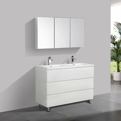 Meuble salle de bain design double vasque VERONA largeur 120 cm blanc laqué  - Blanc