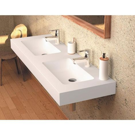 Vasque double suspendue en solid surface CARDIFF MURO 120 cm