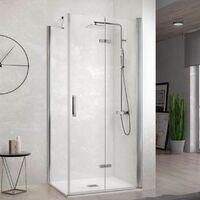 Paroi de douche fixe + Porte de douche pliante NARDI 65 cm Paroi latérale : 66.5 - 69 cm